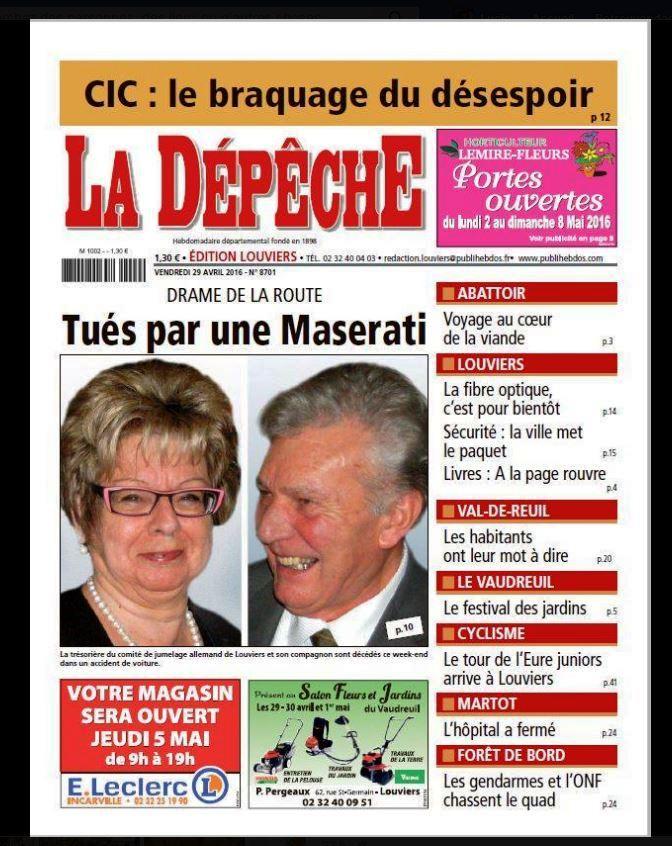 LA DEPECHE DU 28 04 2016 Titel
